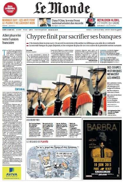 Le Monde du Mardi 26 Mars 2013